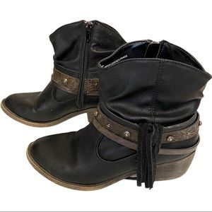 Aldo Western / Cowboy Brown Leather Ankle Boots